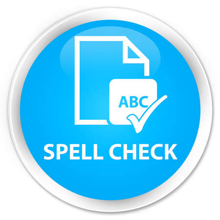 ok sign language: Spell check document cyan blue glossy round button