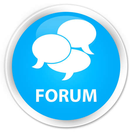 argument: Forum (comments icon) cyan blue glossy round button