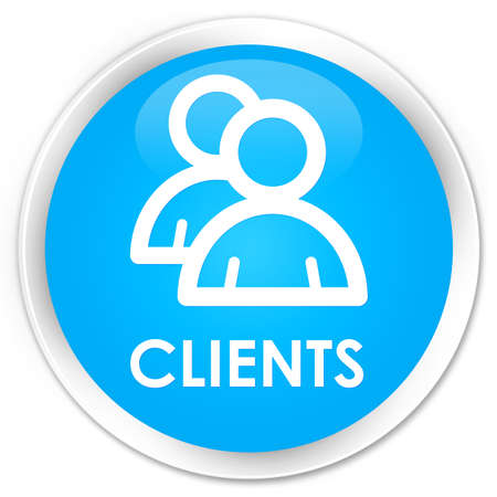 clientele: Clients (group icon) cyan blue glossy round button