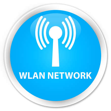 wlan: Wlan network cyan blue glossy round button Stock Photo