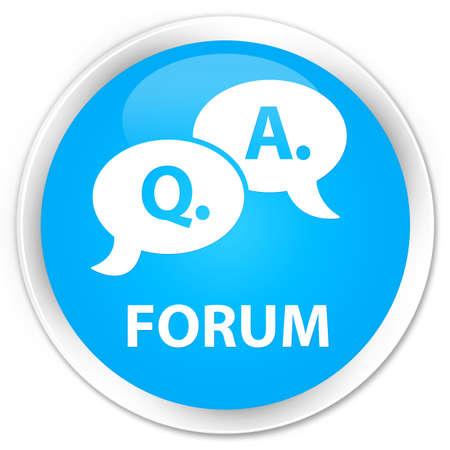 Forum (question réponse bulle icône) bleu cyan bouton rond brillant