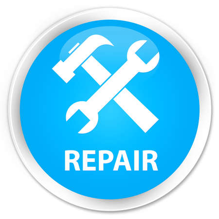 preference: Repair (tools icon) cyan blue glossy round button