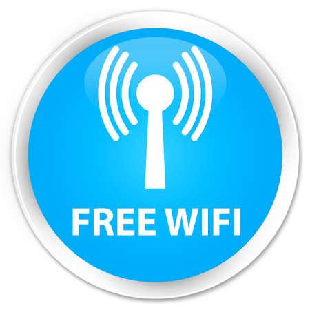 wlan: Free wifi (wlan network) cyan blue glossy round button Stock Photo