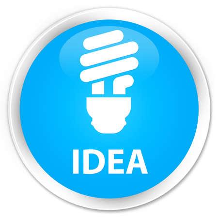 incandescence: Idea (bulb icon) cyan blue glossy round button