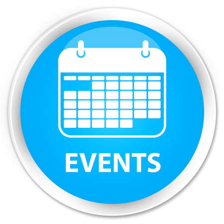 current events: Events (calendar icon) cyan blue glossy round button