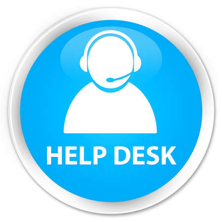 help desk: Help desk (customer care icon) cyan blue glossy round button Stock Photo