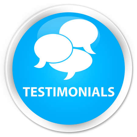 comments: Testimonials (comments icon) cyan blue glossy round button