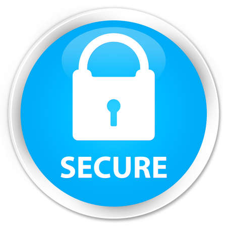 key hole shape: Secure (padlock icon) cyan blue glossy round button
