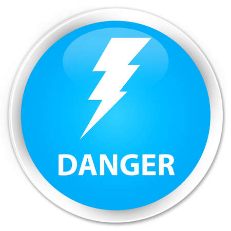 high voltage symbol: Danger (electricity icon) cyan blue glossy round button