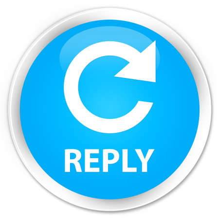 reply: Reply (rotate arrow icon) cyan blue glossy round button