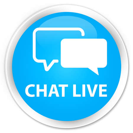 instant message: Chat live cyan blue glossy round button