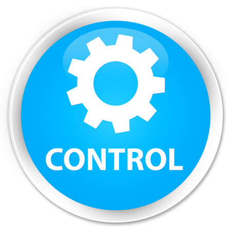 preference: Control (settings icon) cyan blue glossy round button