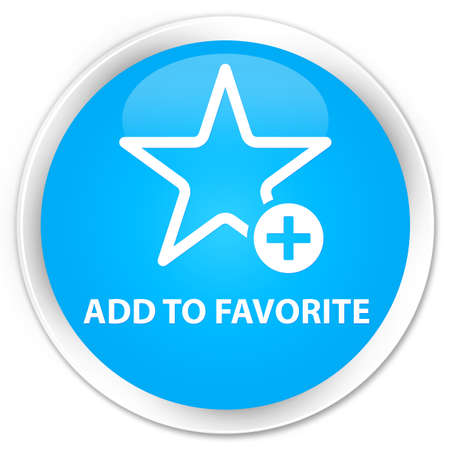Add to favorite cyan blue glossy round button