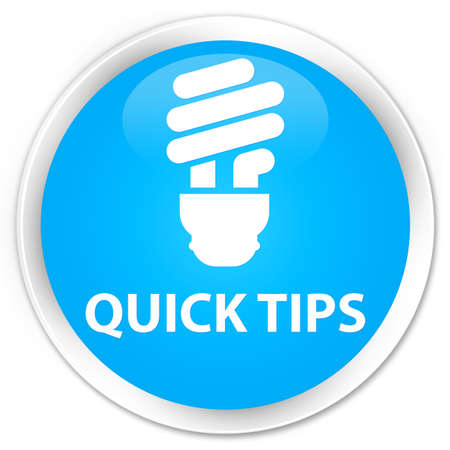 quick: Quick tips (bulb icon) cyan blue glossy round button Stock Photo