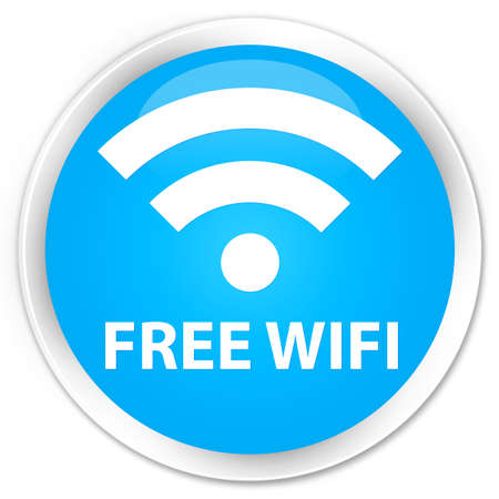 crossover: Free wifi cyan blue glossy round button