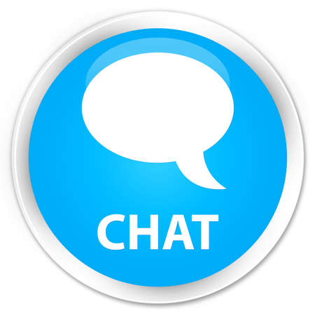 instant message: Chat cyan blue glossy round button