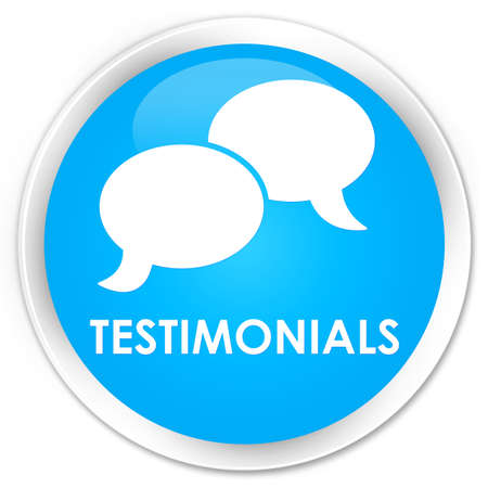 authenticate: Testimonials (chat icon) cyan blue glossy round button