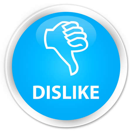 disapprove: Dislike cyan blue glossy round button