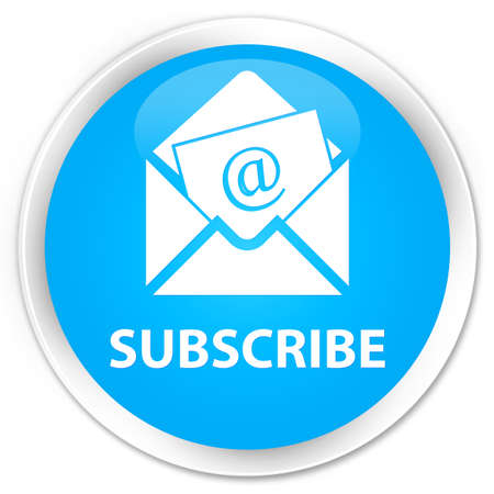 sign up: Subscribe (newsletter email icon) cyan blue glossy round button