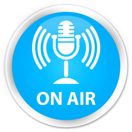 air show: On air (mic icon) cyan blue glossy round button Stock Photo