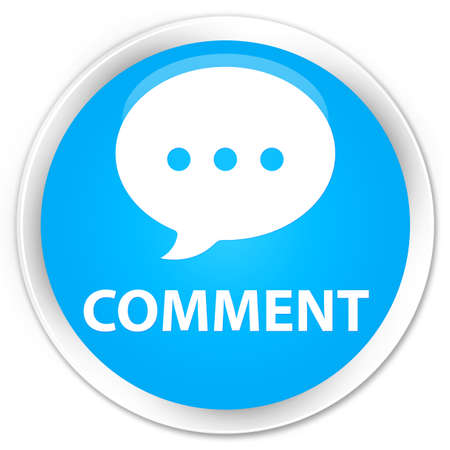 comment: Comment (conversation icon) cyan blue glossy round button