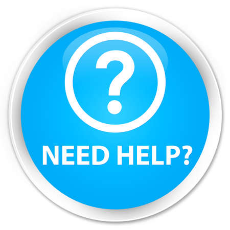 need help: Need help (question icon) cyan blue glossy round button