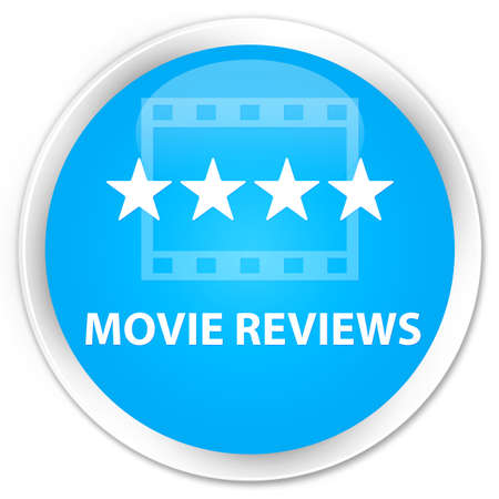 reviews: Movie reviews cyan blue glossy round button Stock Photo