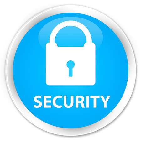 key hole shape: Security (padlock icon) cyan blue glossy round button
