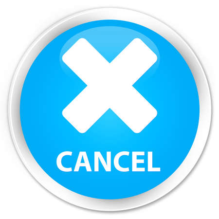 Cancel cyan blue glossy round button