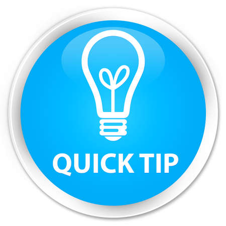 quick: Quick tip (bulb icon) cyan blue glossy round button Stock Photo