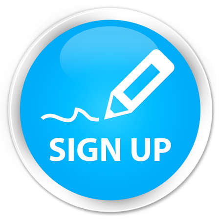 registry: Sign up cyan blue glossy round button