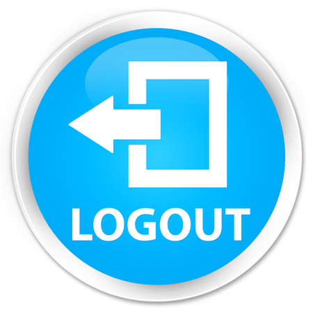 log off: Logout cyan blue glossy round button