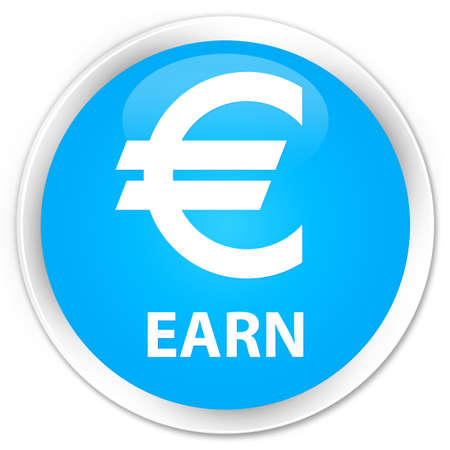cyan business: Earn (euro sign) cyan blue glossy round button Stock Photo