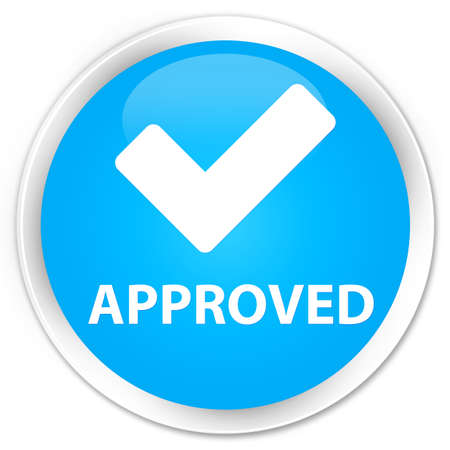 confirmed: Approved (validate icon) cyan blue glossy round button Stock Photo