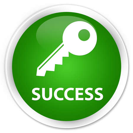 permission: Success (key icon) green glossy round button Stock Photo