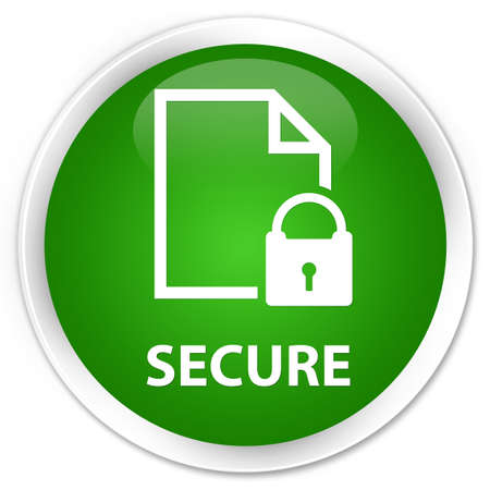 safeguard: Secure (document page padlock icon) green glossy round button