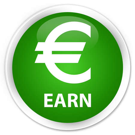 earn: Earn (euro sign) green glossy round button