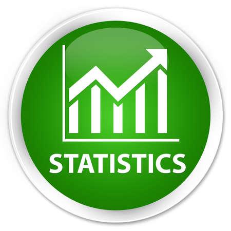 round: Statistics green glossy round button