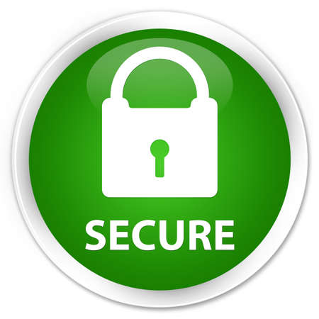 defend: Secure (padlock icon) green glossy round button