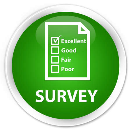 questionnaire: Survey (questionnaire icon) green glossy round button