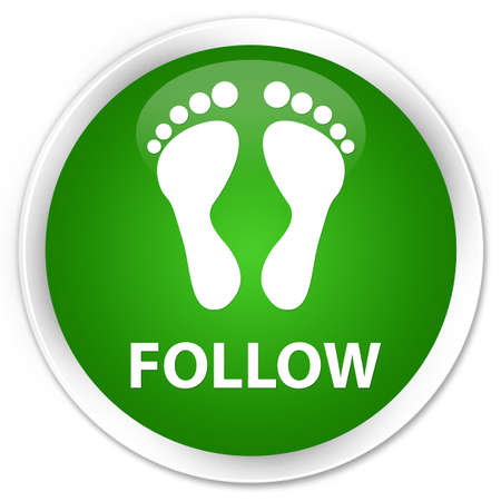 green footprint: Follow (footprint icon) green glossy round button Stock Photo