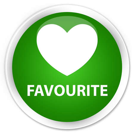 favourite: Favourite (heart icon) green glossy round button