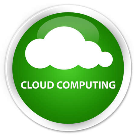 green computing: Cloud computing green glossy round button Stock Photo