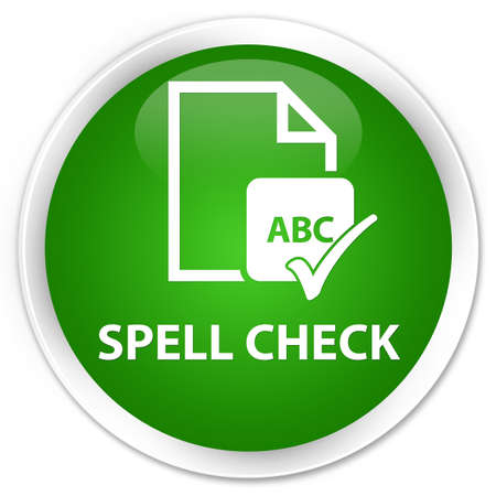 spell: Spell check document green glossy round button