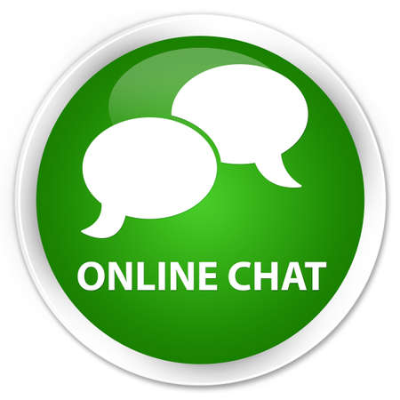 instant message: Online chat green glossy round button Stock Photo