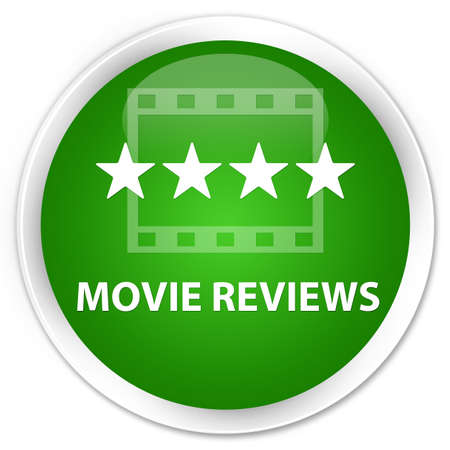 ratings: Movie reviews green glossy round button Stock Photo