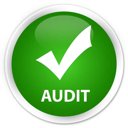 validate: Audit (validate icon) green glossy round button Stock Photo