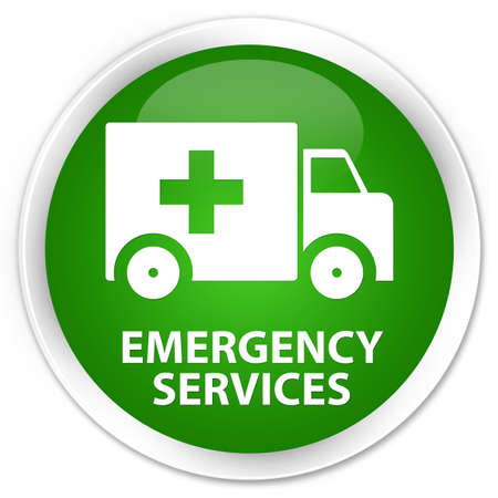 heathcare: Emergency services green glossy round button