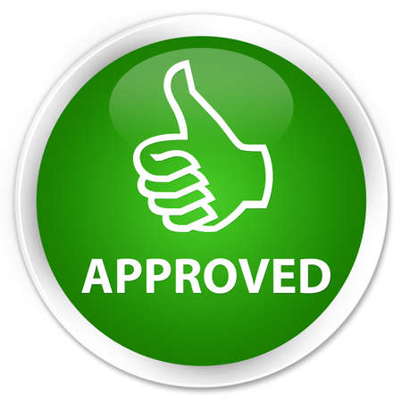 allow: Approved (thumbs up icon) green glossy round button Stock Photo