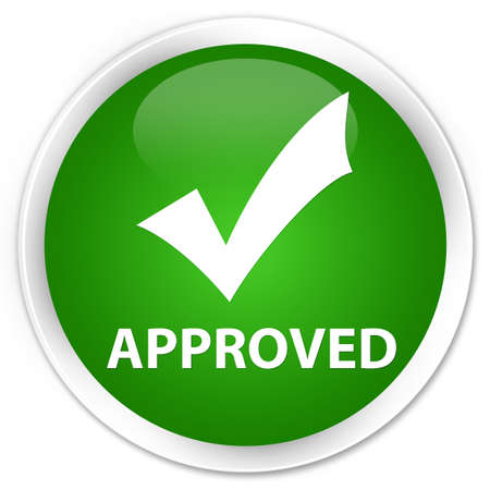 Approved (validate icon) green glossy round button
